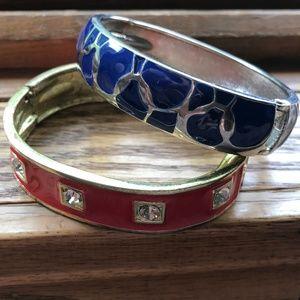 Jewelry - Lot 2 '80s Vintage Side Clamper Enamel Bracelets